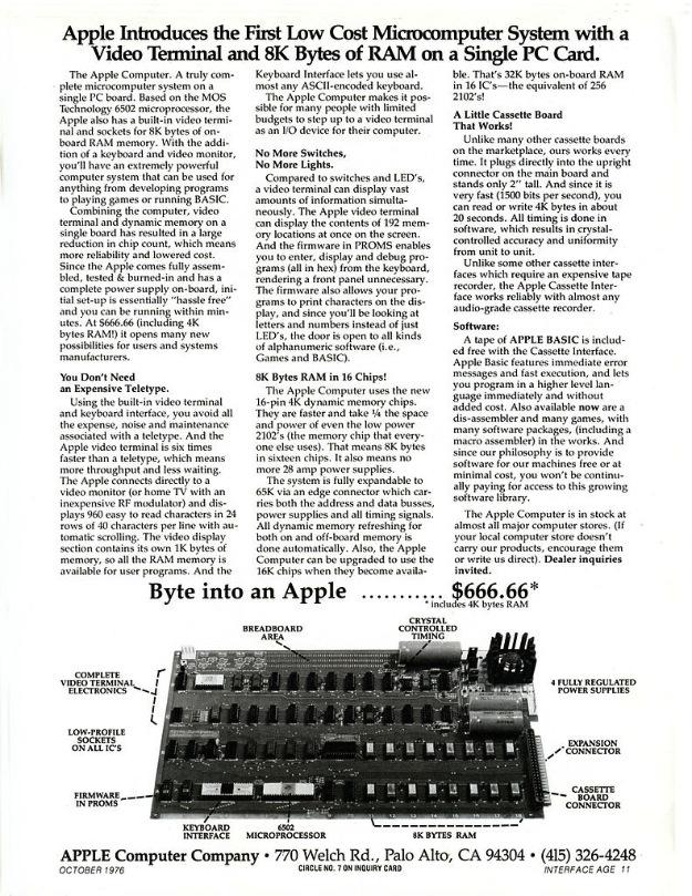 Apple 1 Advertisement oct 1976