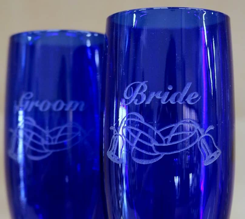 Bride and Groom Etched Blue Glasses