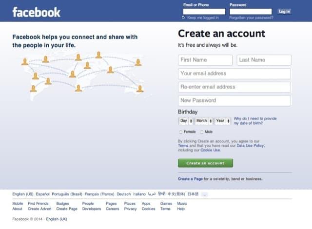 Facebook (Login, Signup Page)
