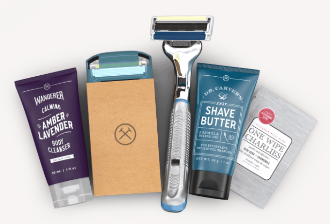 Dollar Shave Club Image of a razor with Shave Butter and Butt Wipes