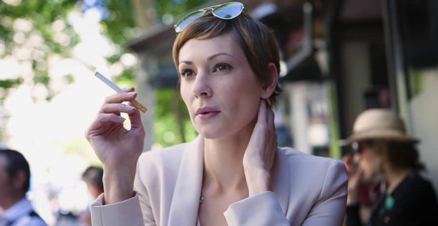 Woman using E-Cigarette