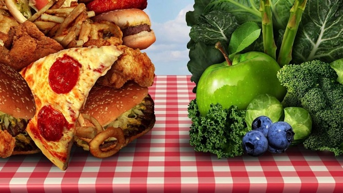Dieting - Healthy vs. Unhealthy Food