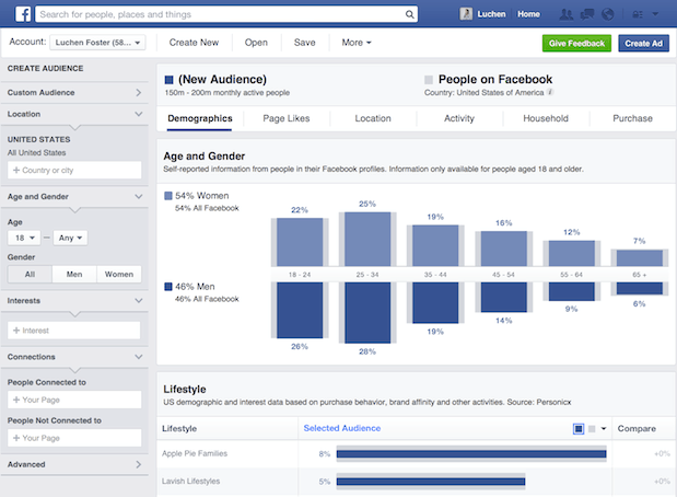 Facebook Audience Insights - screen shot