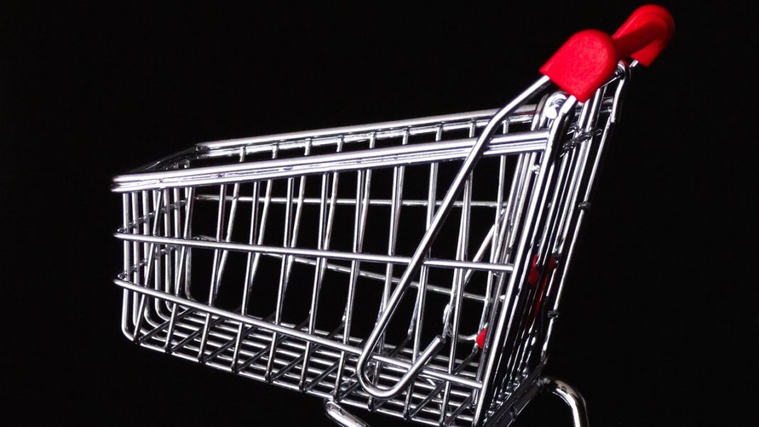 shopping basket against black background