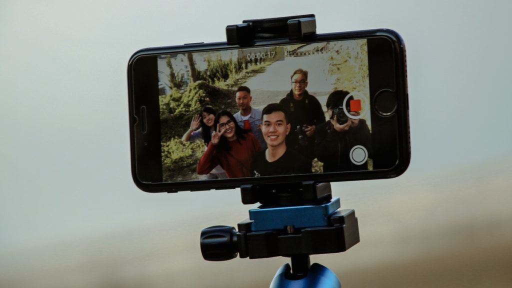 market research with video - an iPhone screen with multiple people being recorded on video