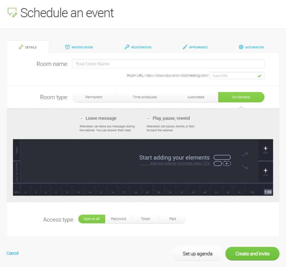 ClickMeeting - scheduling a webinar